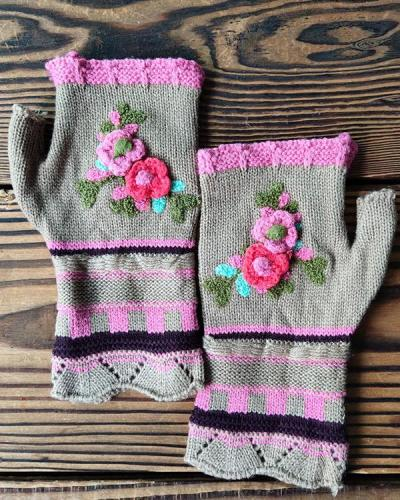 Casual Flower Decor Knitted Gloves Handwarmers