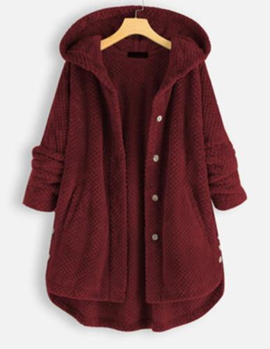 Women Fleece Irregular Long Sleeve Hooded Coats