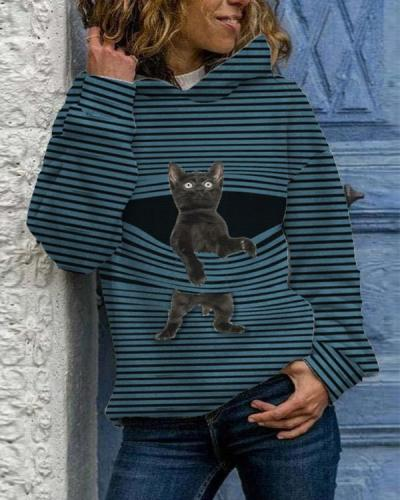 Cat Print Long Sleeve Casual Striped Hoodies For Women