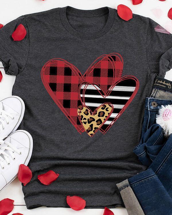 Striped Plaid Leopard Printed Splicing Heart T-Shirt Tee