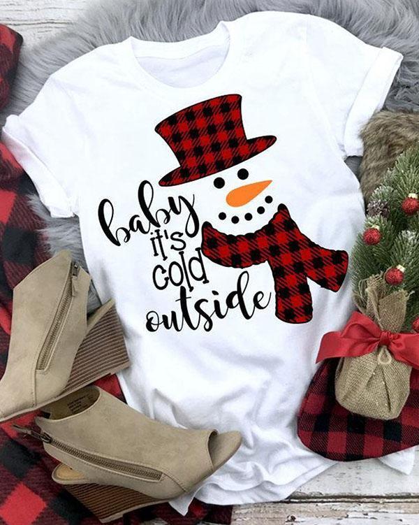 Buffalo Plaid Merry Christmas Snow Man T-Shirt