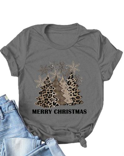 Christmas Tree Print O-Neck T-Shirt Tee