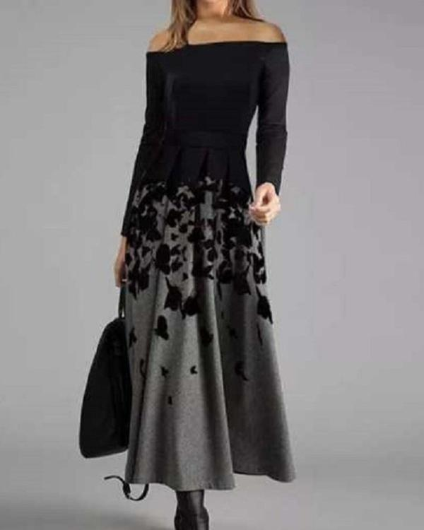 Animal Print Long Sleeves A-line Skater Elegant Maxi Dresses