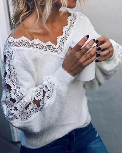 Stylish Lace Patchwork Design V Neck Sweater