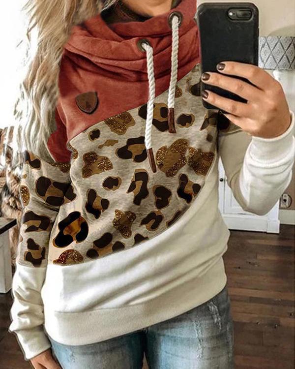 Leopard Printed Long Sleeve Color-Block Hoodie Sweatshirt