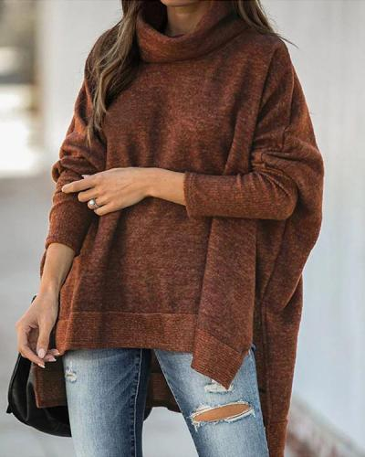 Casual Loose Turtle Neck Side Slit Batwing Sweater