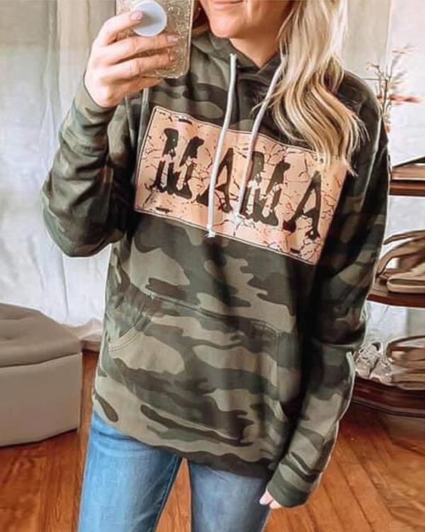 Camouflage Printed Long Sleeve Hoodie Sweatshirt