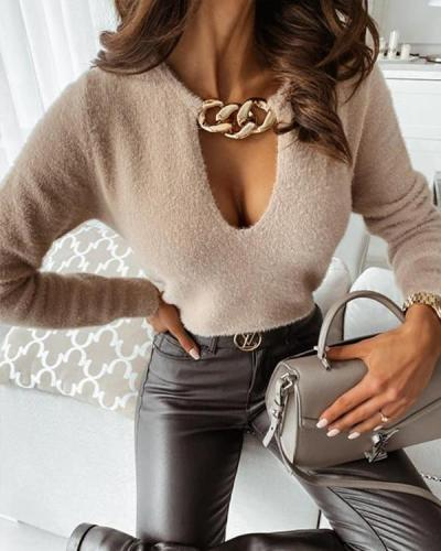 Women V Neck Chain Plush Slim Fit Sweater