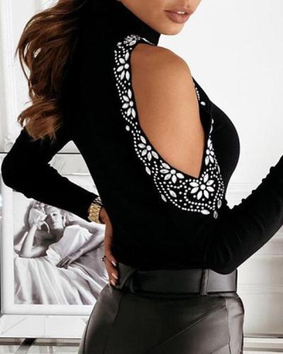 Women High Neck Cold Shoulder Sequin Decor Slim Fit Sweater