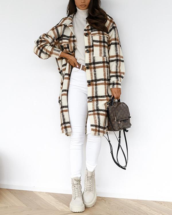Women Fashion Plaid Pockets Winter Long Overcoat