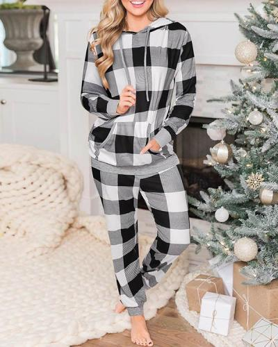 Casual Milk Fiber Christmas Plaid Loungewear Hoodie&Pants Set