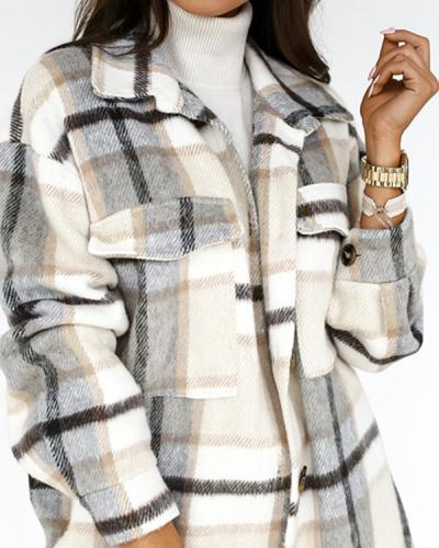 Women Fashion Plaid Pockets Winter Long Overcoat