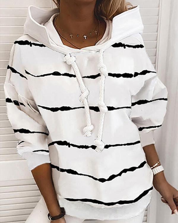 Striped Casual Hoodie Shirts & Tops