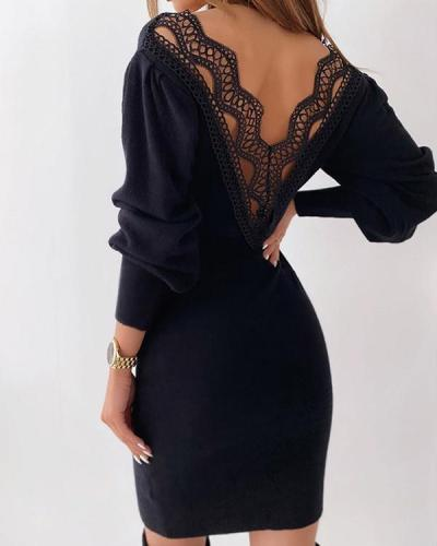 Long Sleeves Lace Patchwork Backless Bodycon Elegant Mini Dress