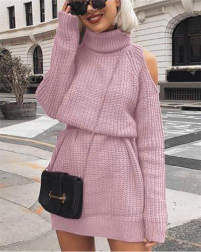 Turtleneck Hollow Out Knitted Sweater Dress