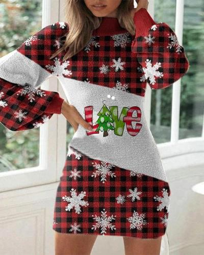 Christmas Print Slim Lantern Long Sleeve Dress