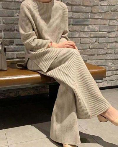Casual Loose Loungewear Knit Sweater&Pants Set