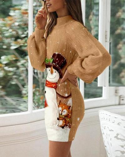Ladies Autumn And Winter Fashion Print Dress