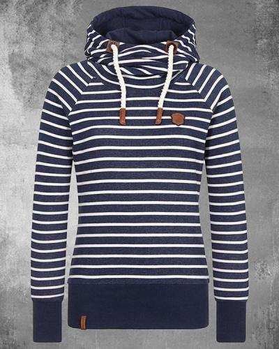 Stripe Cotton-blend Fleece Hoodie Sweatshirt