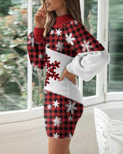 Ladies Christmas Printed Tight Dress