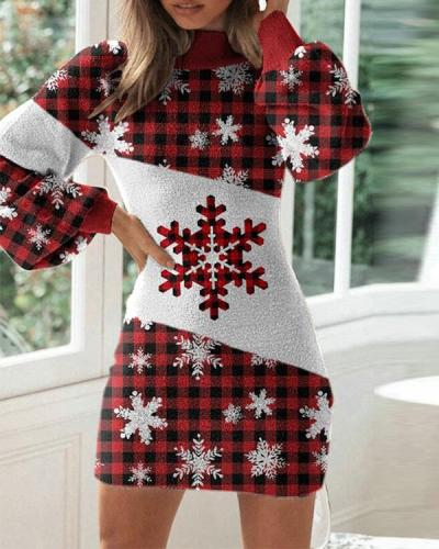 Ladies Christmas Printed Tight Dress