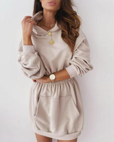 Casual Hooded Long Sleeve Fleece Sweatshirt Dress with Pockets