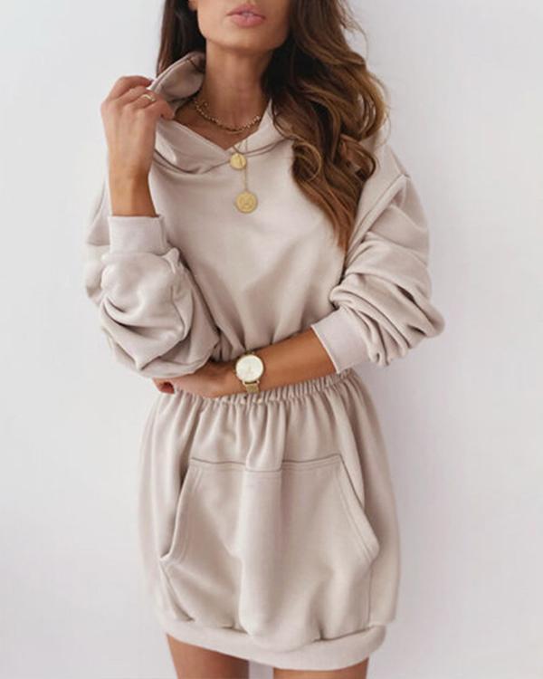 Casual Hooded Long Sleeve Fleece Sweatshirt Dress with Pockets