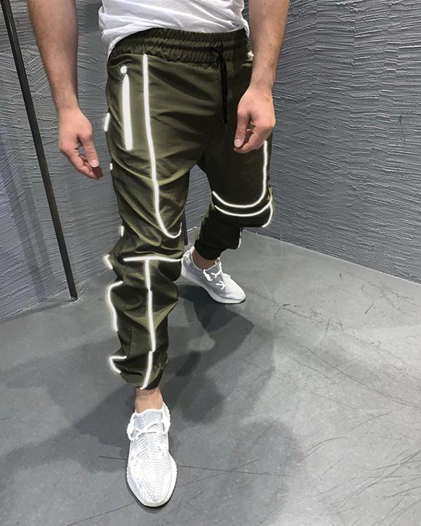 Men's Solid Color Reflective Feet Trendy Fitness Sports Trousers