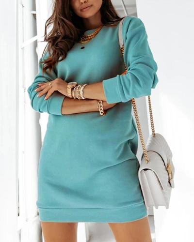 Casual Long Sleeve Open Back Fleece Sweatshirt Dress