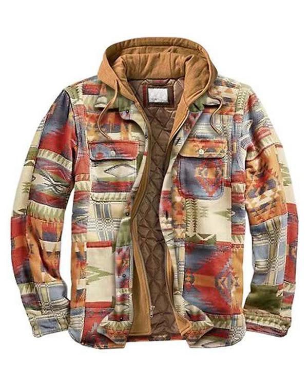 Men's Casual Outdoor Thickened Multicolor Plaid Hooded Jacket