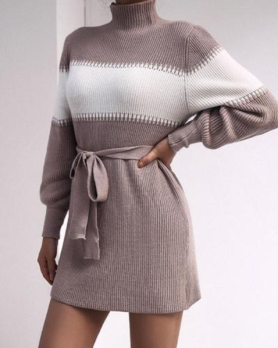 Women's Elegant Color Block Turtleneck Knitted Dress