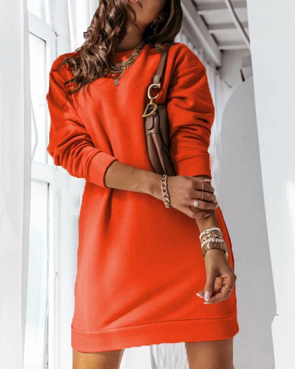 Casual Long Sleeve Open Back Fleece Sweatshirt Dress