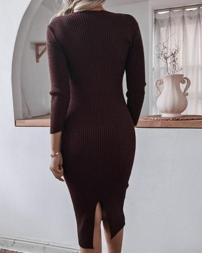 Women's Elegant Slim Fit Ultra Stretchy Knitted Dress