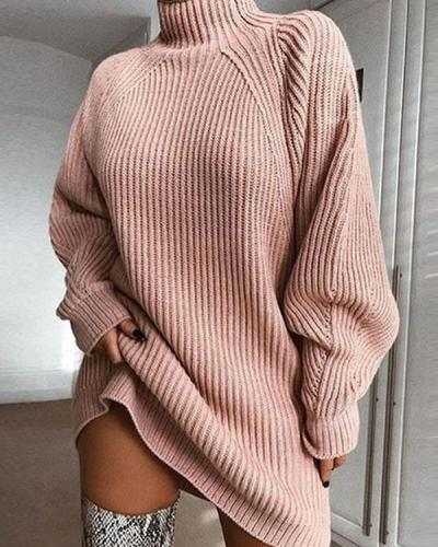 Women's Basic Knitted Solid Colored Plain Dress Sweater Dress