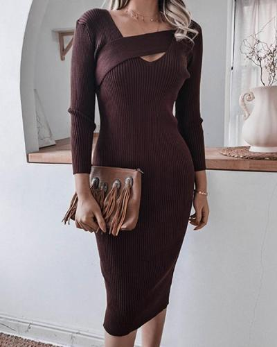 Women's Elegant Slim Fit Ultra Stretchy Knitted Dress