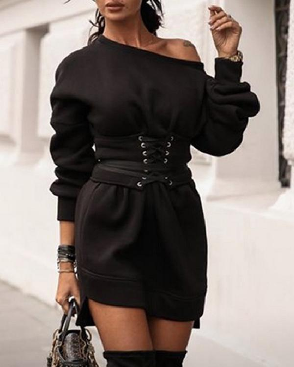 Casual Batwing Tie Waist Fleece Sweatshirt Dress