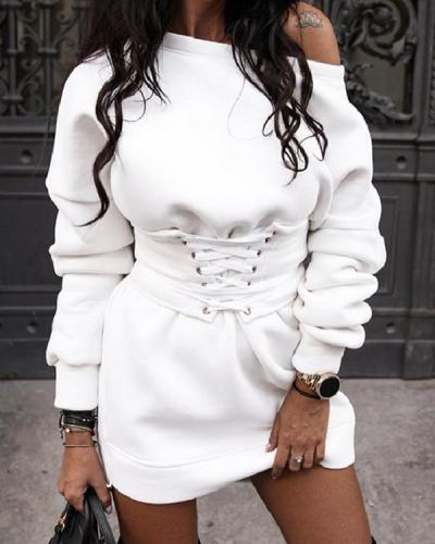 Casual Batwing Tie Waist Fleece Sweatshirt Dress