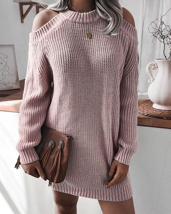 Women's Casual Loose Fit Cold Shoulder Chunky Knitted Dress