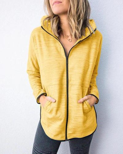 Cotton-Blend Long Sleeve Sport Hoodies Outerwear