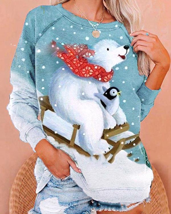 Christmas Skiing in the Snow Cute Sweatshirt