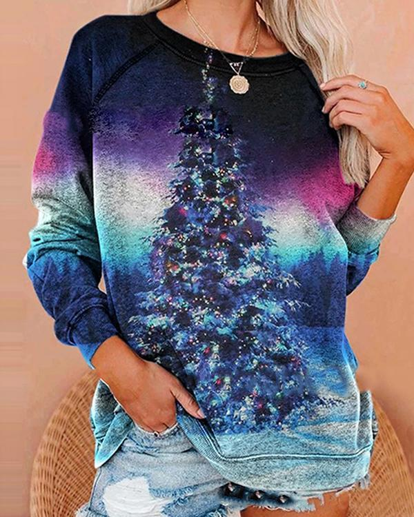 Christmas Tree Ombre Colorful Long Sleeve Sweatshirt