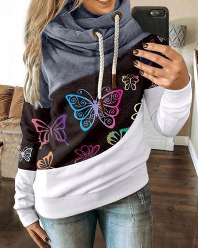 Hoodie Paneled Women Butterfly Long Sleeve Street Sweatshirt