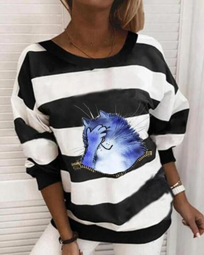 Striped Upset Cat Print Crew-Neck Long Sleeves Sweatshirt