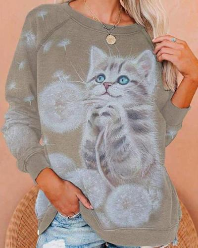Cat Print Casual O Neck T-shirt