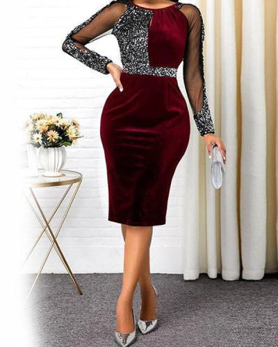 Sequins Round Neckline Overknee Bodycon Dress