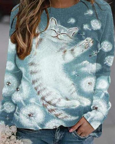 Women Cat Print Casual O Neck Shirts