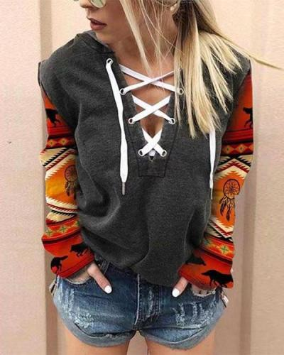 Women's V-Neck Printed Sweatshirt