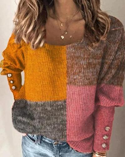 Women Color Block Long Sleeve Daily Sweater