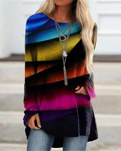 Women Printed O Neck Colorful Long Sleeve Blouses