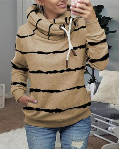 Shift Hoodie Casual Stripe Fleece Shirts&Tops